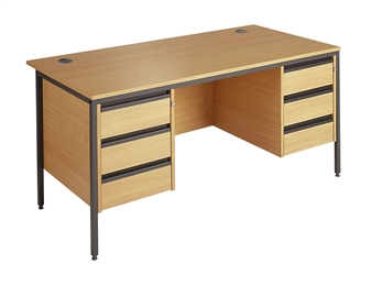 Budget Office Desk With 2 x 3-Drawer Pedestals