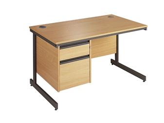 C-Frame Office Desk With 2-Drawer Pedestal