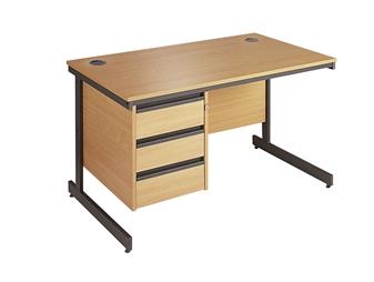 C-Frame Office Desk With 3-Drawer Pedestal