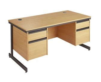 C-Frame Office Desk With 2 x 2-Drawer Pedestals