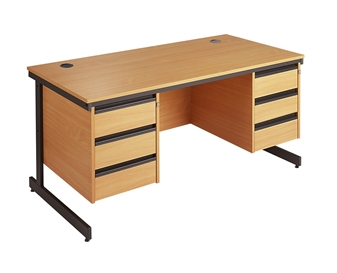 C-Frame Office Desk With 2 x 3-Drawer Pedestals