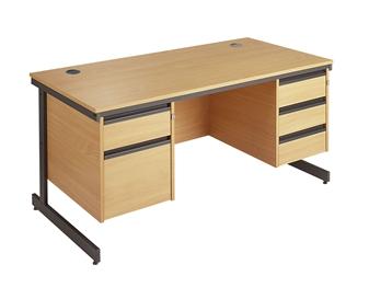 C-Frame Office Desk With 1 x 2-Drawer & 1 x 3-Drawer Pedestal