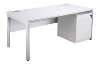 White Bench Desking - With 3-Drawer Mobile Pedestal