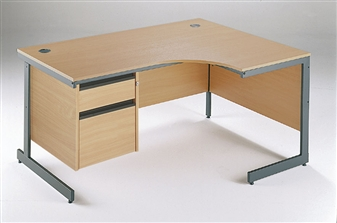 C-Frame Radial Desk + Fixed 2-Drawer Pedestal - Right-Hand