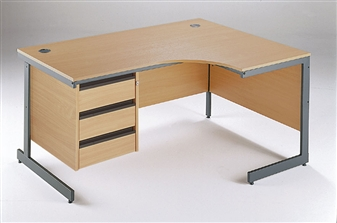 C-Frame Radial Desk + Fixed 3-Drawer Pedestal - Right-Hand