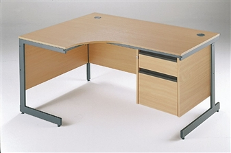 C-Frame Radial Desk + Fixed 2-Drawer Pedestal - Left-Hand