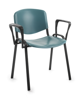 Set Of 4 Plastic Chairs With Arms