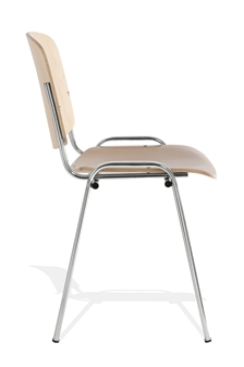Wood/Chrome Stacking Chair