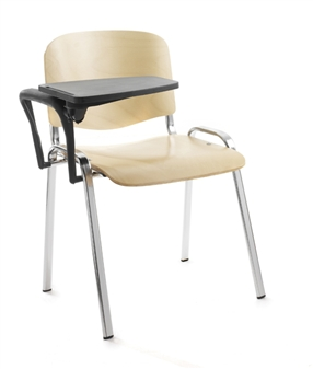 Wood/Chrome Chair With Writing Tablet