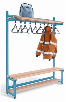 Single Sided Bench With Overhead Hanging + Optional Base Shelf Slats
