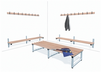 Wall Mounted Hook Strip With Wall Mounted Bench & Double Sided Bench