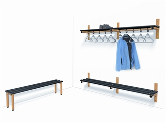Wall Mounted Shelf & Rail With Wall Mounted Bench & Single Sided Bench