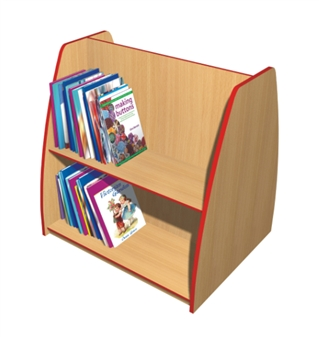 Double-Sided Angled Bookcase - 2 Shelves