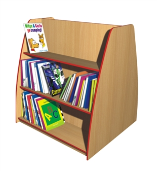 Double-Sided Angled Bookcase - 3 Shelves
