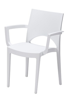 June Polypropylene Stacking Chair With Arms - White