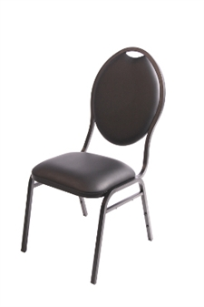 Stackable Faux Leather Banqueting Chair - Black