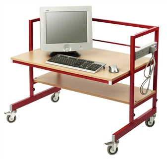 Adjustable Height Single Tier Computer Trolley - Beech Shelves & Red Frame