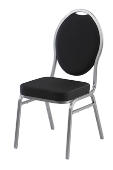 Stacking Banquet Chair - Faux Leather Black