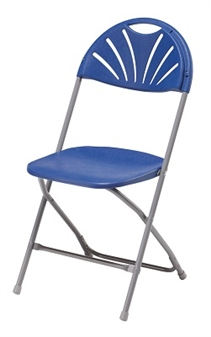 Fan-Back Fold Flat Chair - Blue