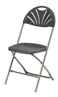 Fan-Back Fold Flat Chair - Charcoal