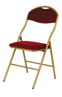 De Luxe Folding Fabric Chair - Gold Frame With Red Seat & Back