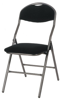 De Luxe Folding Fabric Chair - Hammerscale Grey Frame With Black Seat & Back
