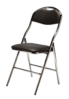 De Luxe Faux Leather Folding Chair - Black/Chrome