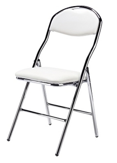 De Luxe Faux Leather Folding Chair - White/Chrome