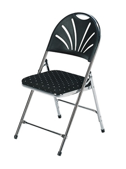 Folding Function Chair - Chrome Frame With Black Motif Seat & Black Back