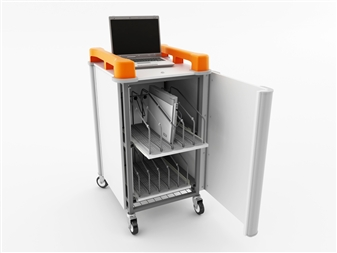 10 Port Laptop Recharging Storage Trolley - Vertical Storage - Front Open