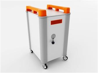 10 Port Laptop Recharging Storage Trolley - Vertical Storage - Back Closed