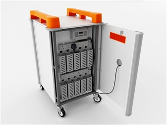 10 Port Laptop Recharging Storage Trolley - Vertical Storage - Back Open
