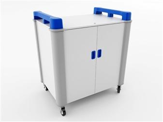 16 Port Laptop Recharging Storage Trolley - Vertical Storage - Blue