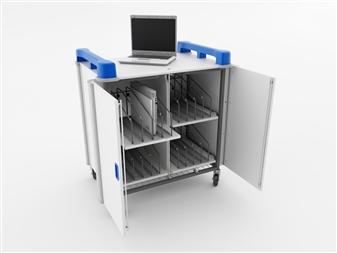 16 Port Laptop Recharging Storage Trolley - Vertical Storage - Front Open