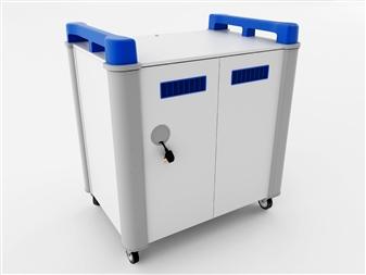 16 Port Laptop Recharging Storage Trolley - Vertical Storage - Back Closed