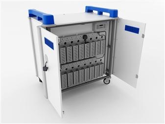 16 Port Laptop Recharging Storage Trolley - Vertical Storage - Back Open