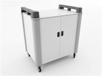 20 Port Laptop Recharging Storage Trolley - Vertical Storage - Charcoal
