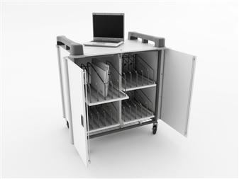 20 Port Laptop Recharging Storage Trolley - Vertical Storage - Front Open