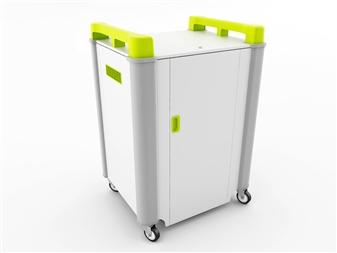 16 Port Laptop Recharging Storage Trolley - Horizontal Storage - Lime