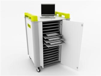 16 Port Laptop Recharging Storage Trolley - Horizontal Storage - Front Open