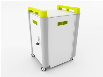 16 Port Laptop Recharging Storage Trolley - Horizontal Storage - Back Closed