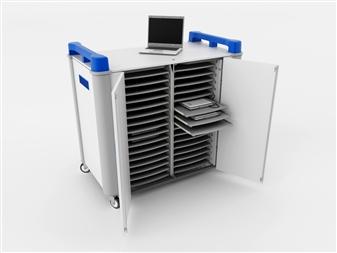 32 Port Laptop Recharging Storage Trolley - Horizontal Storage - Front Open