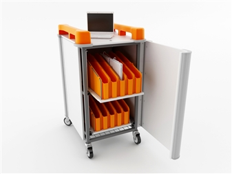 20 Port Mini Laptop Recharging Storage Trolley - Vertical Storage - Orange
