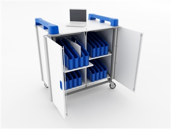32 Port Mini Laptop Recharging Storage Trolley - Vertical Storage - Blue