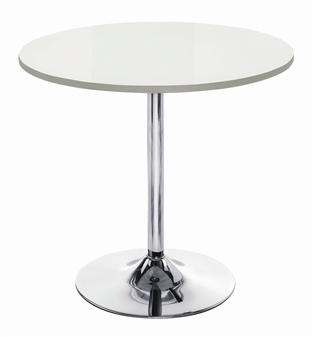 White High Gloss Trumpet Base Cafe / Bistro Table