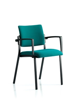 Viscount Stacking Chair - Vinyl - Black Frame With Arms