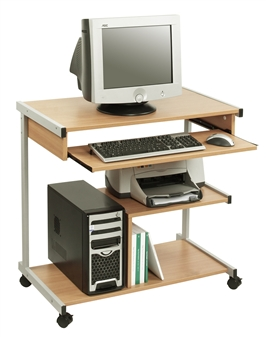 Mobile computer Workstation - Beech With Grey Frame