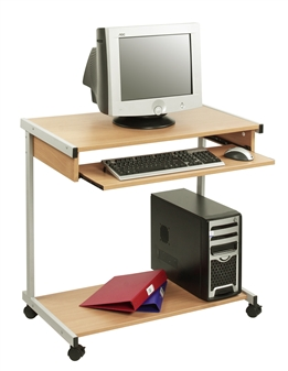 Wide Mobile Computer Workstation - Beech With Grey Frame