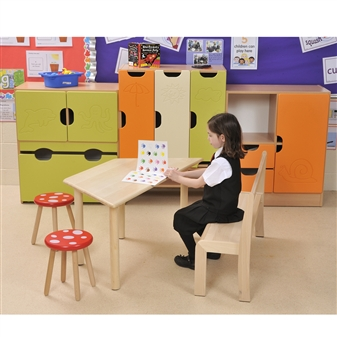 Beech Trapezoidal Table With Beech Stacking Bench
