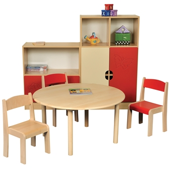 Beech Round Table With Beech Stacking Chairs